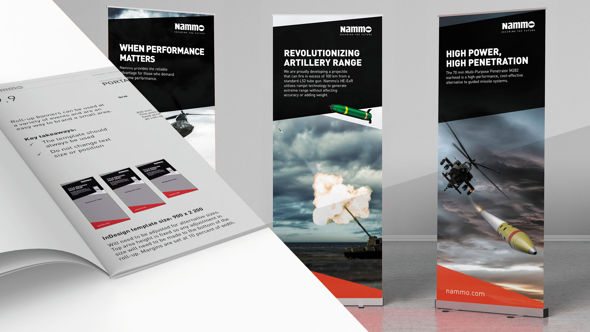Nammo new brand roll-up banners