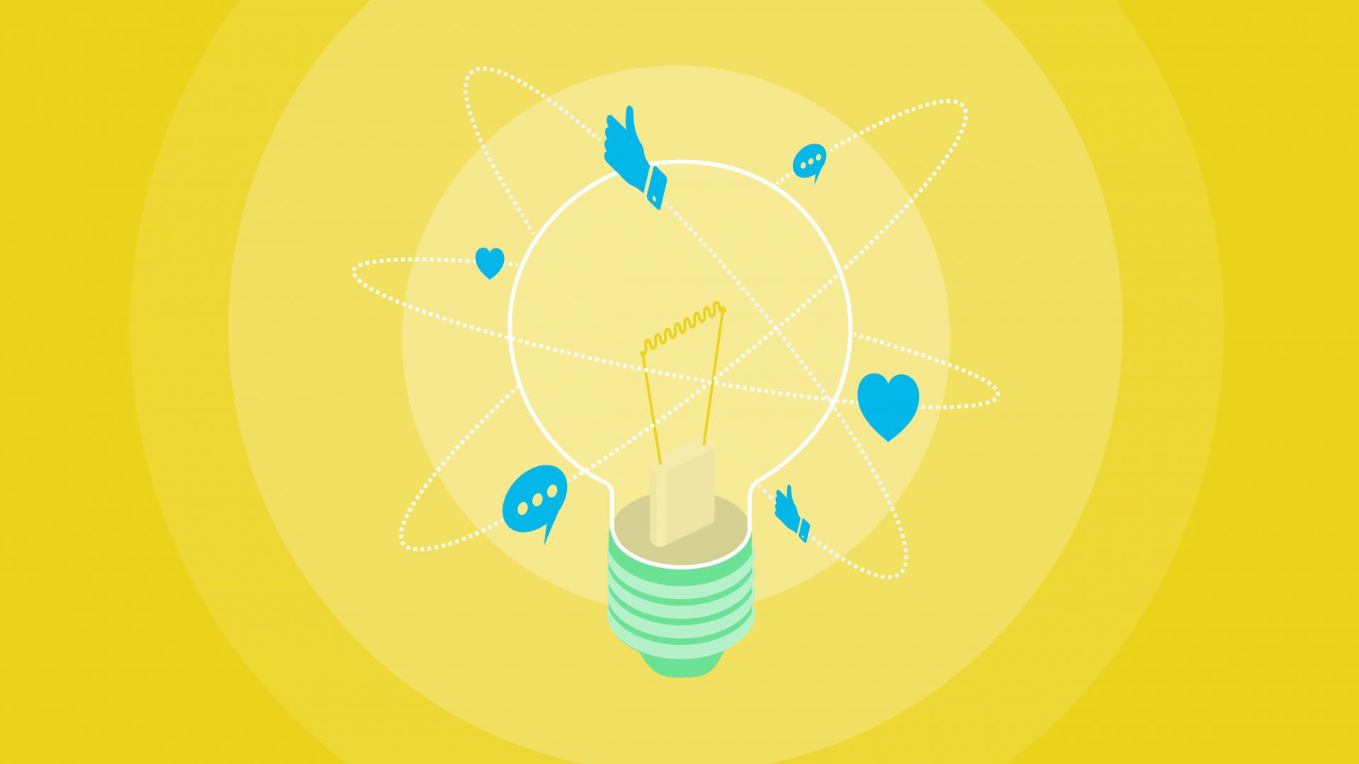 Social Media icons floating around light bulb